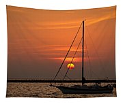Sailboat Sunrise Chicago Tapestry