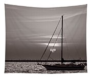 Sailboat Sunrise In B And W Tapestry