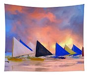 Sailboats On Boracay Island Tapestry