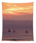 Sailing In The Golden Glow Tapestry