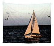 Sailing Off Of Diamond Head Tapestry