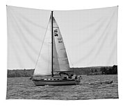 Sailing On Lake Murray S C Black And White Tapestry