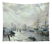 Sailing Ships In The Port Of Hamburg Tapestry