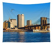 Sailing Under The Brooklyn Bridge - Impressions Of Manhattan Tapestry