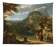Saint Anthony Of Padua Introducing Two Novices To Friars In A Mountainous Landscape Tapestry