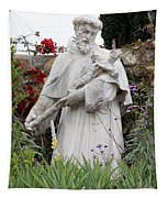 Saint Francis Statue In Carmel Mission Garden Tapestry
