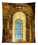 Saint Isidore - Romanesque Window With Stained Glass - Vintage Version Tapestry