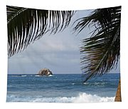 Saint Lucia Palm Tree Small Rock Caribbean Flowing Tapestry