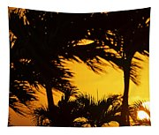 Saint Martin Sunset Through The Palm Trees Tapestry