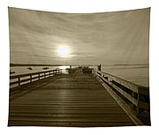 Salem Willows Pier At Sunrise Sepia Tapestry