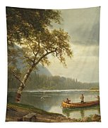 Salmon Fishing On The Caspapediac River Tapestry by Albert Bierstadt