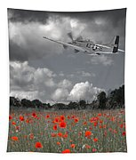 Salute To The Brave - P51 Flying Over Poppy Field Tapestry