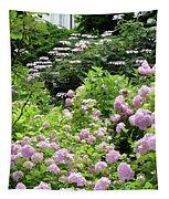 Pink Hydrangeas In Mirabell Garden Tapestry