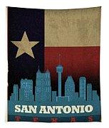 San Antonio City Skyline State Flag Of Texas Art Poster Series 022 Tapestry