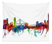 San Francisco And Pittsburgh Skylines Mashup Tapestry
