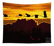 Sandhill Crane At Sunset Tapestry