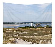 Sandy Neck Lighthouse With Fishing Boat Tapestry