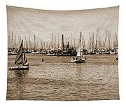 Santa Barbara Harbor Sepia Tapestry