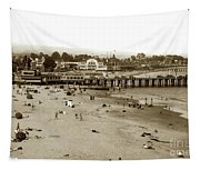 Santa Cruz Beach With Ideal Fish Restaurant 1930's Tapestry