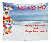 Santa Merry Christmas And Happy New Year Card Tapestry