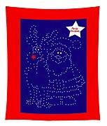 Santa Rudolph Stars Blue 2 Tapestry
