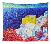Santorini Oia Colors Modern Impressionist Impasto Palette Knife Oil Painting By Ana Maria Edulescu Tapestry