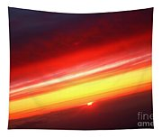 Saturn On Earth Sunset Tapestry