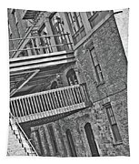 Savannah River Walk Stories Black And White Tapestry