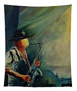 Sax Player Tapestry