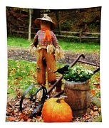 Scarecrow And Pumpkin Tapestry