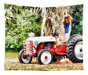 Scarecrow And Pumpkins 2 Tapestry