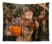 Scarecrow With A Carved Pumpkin  In A Corn Field Tapestry