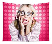 Scared Goofy Business Person Expressing Fear Tapestry