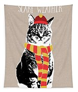 Scarf Weather Cat- Art By Linda Woods Tapestry