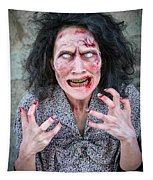 Scary Angry Zombie Woman Tapestry