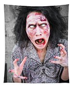 Scary Screaming Zombie Woman Tapestry
