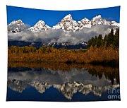 Scenic Teton Fall Reflections Tapestry