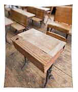 School Desks In A One Room School Building Tapestry