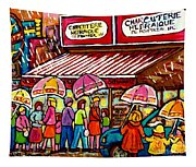 Schwartz's Deli Rainy Day Line-up Umbrella Paintings Montreal Memories April Showers Carole Spandau  Tapestry