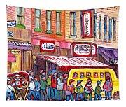 Schwartz's Smoked Meat Deli On The Main Montreal Hockey Art Scenes School Bus Painting C Spandau Art Tapestry