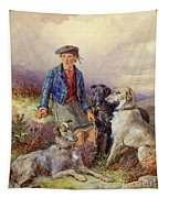 Scottish Boy With Wolfhounds In A Highland Landscape Tapestry
