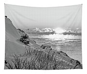 Sea Smoke On Castle Island Marblehead Ma Sunrise 2 Black And White Tapestry