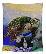 Sea Turtle Acrylic Painting Tapestry by Thomas J Herring