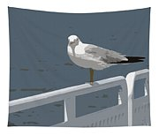 Seagull On The Rail Tapestry