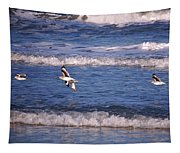 Seagulls Above The Seashore Tapestry