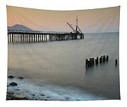 Seascape With Deserted Jetty During Sunset Tapestry
