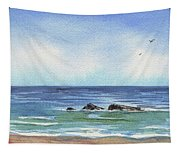 Seascape With Three Rocks Tapestry