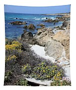 Seaside Flowers And Rocky Shore Tapestry