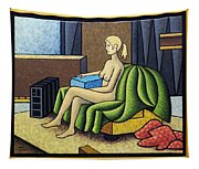 Seated Nude With Red Robe-framed Tapestry