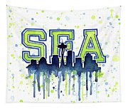 Seattle Watercolor 12th Man Art Painting Space Needle Go Seahawks Tapestry